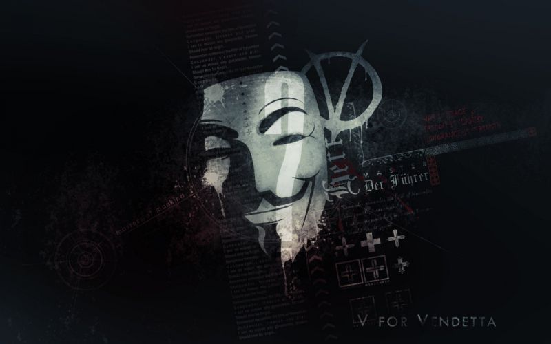 Anonymous typography masks V for Vendetta artwork wallpaper