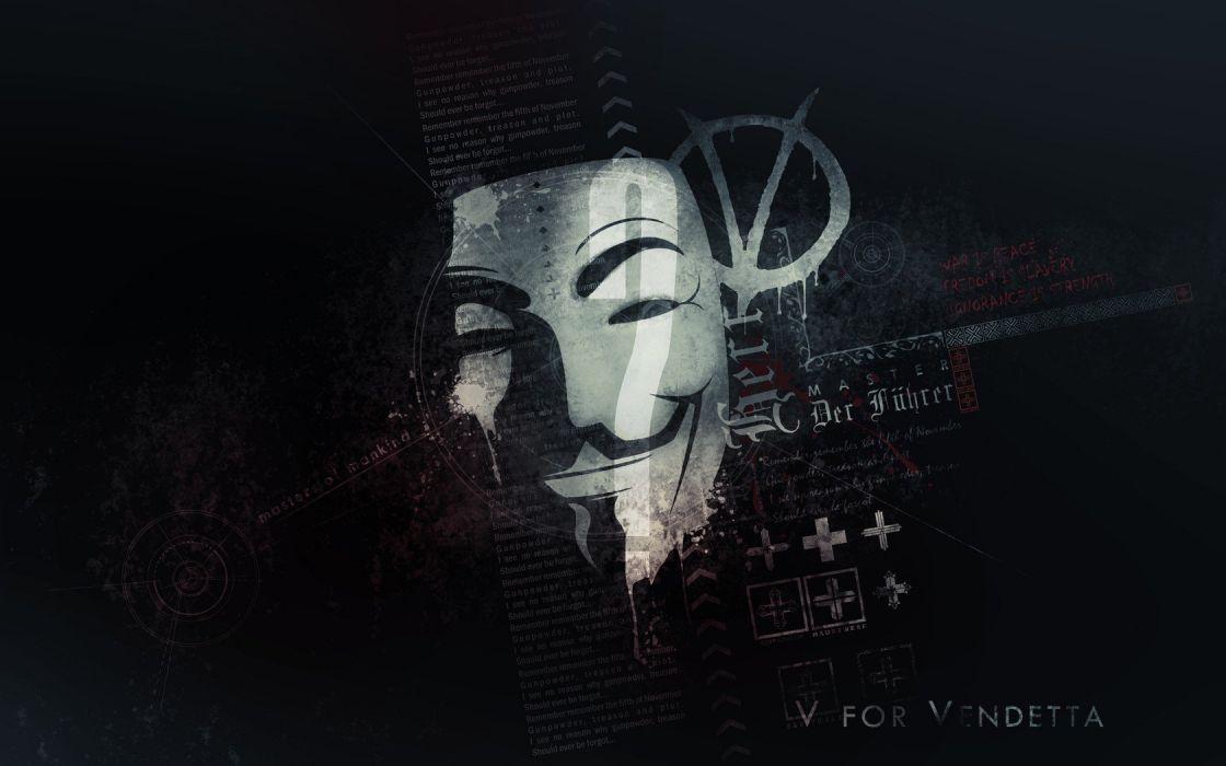 Anonymous typography masks V for Vendetta artwork wallpaper