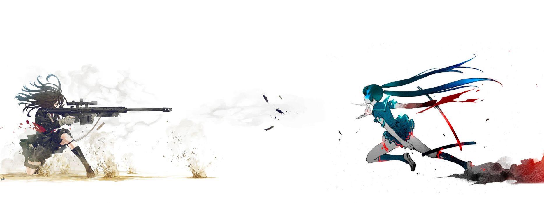 Black Rock Shooter katana long hair blade sniper rifles simple background anime girls wallpaper