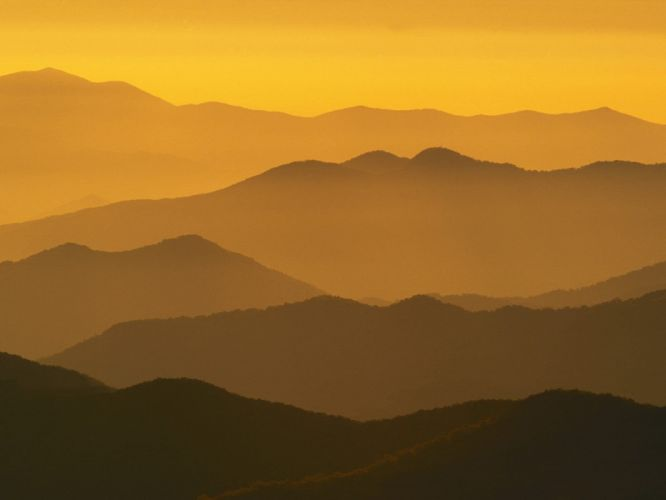mountains silhouettes mist sunlight dome North Carolina wallpaper
