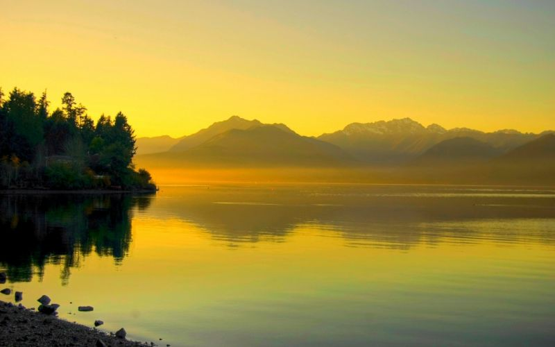 water sunset landscapes nature dusk rivers wallpaper