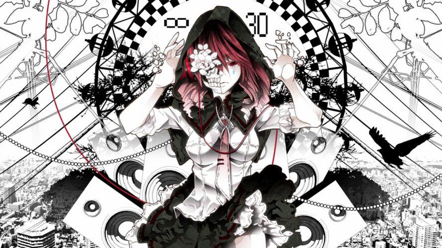 black and white death uniforms flowers redheads Kasane Teto Utau wallpaper