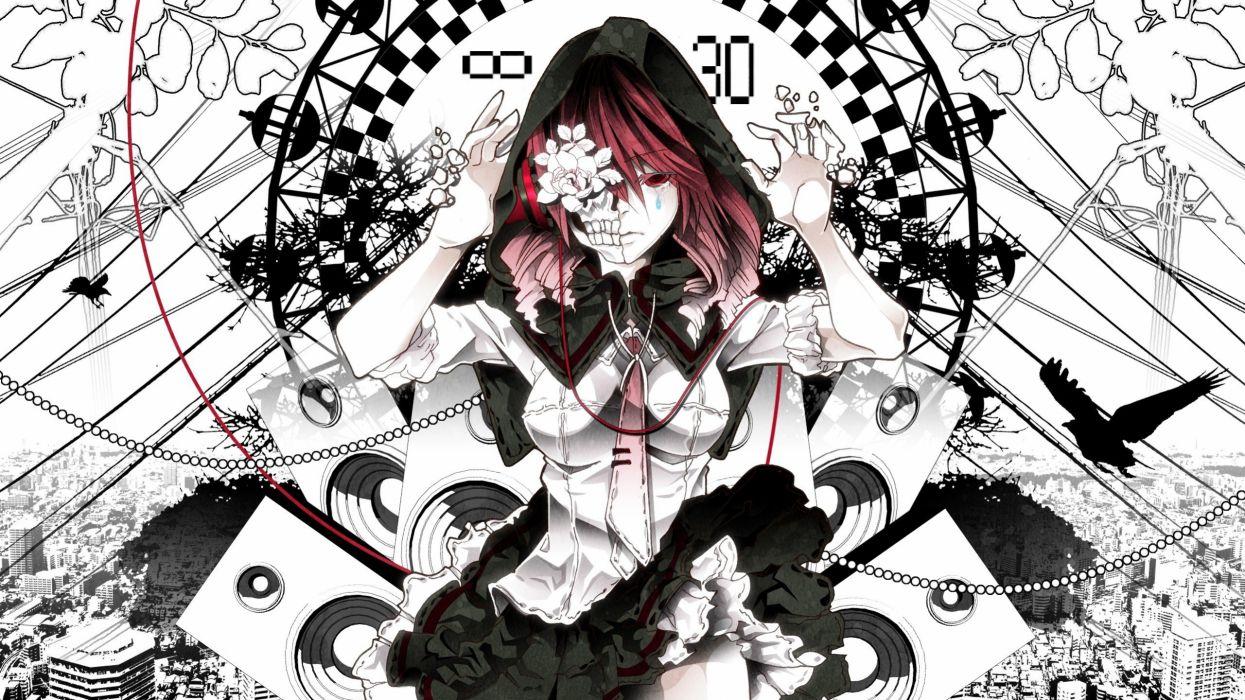 Black And White Death Uniforms Flowers Redheads Kasane Teto Utau