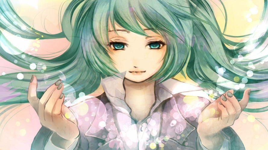 aqua eyes aqua hair anime girls wallpaper