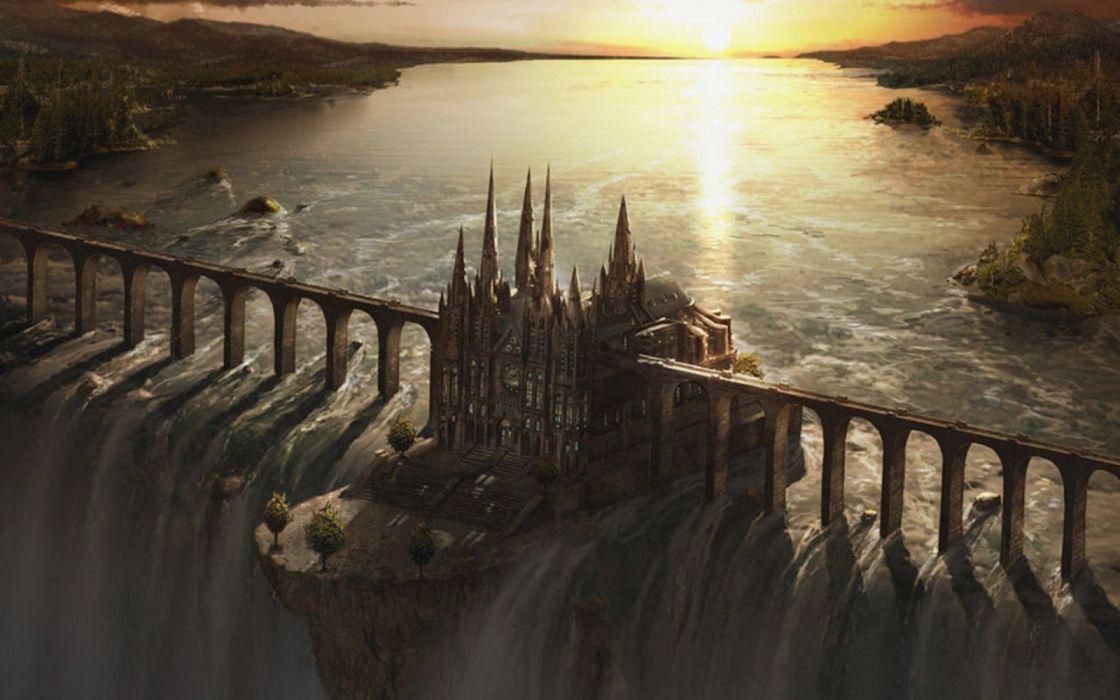 castles bridges fantasy art artwork waterfalls wallpaper