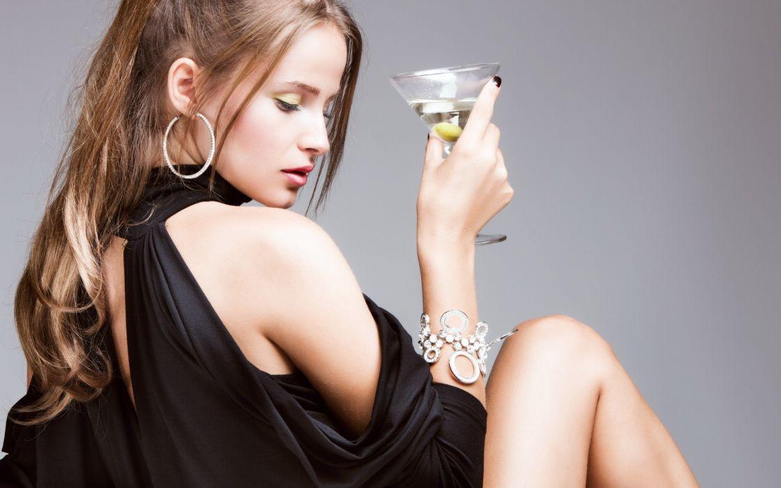 women drinks olives wallpaper
