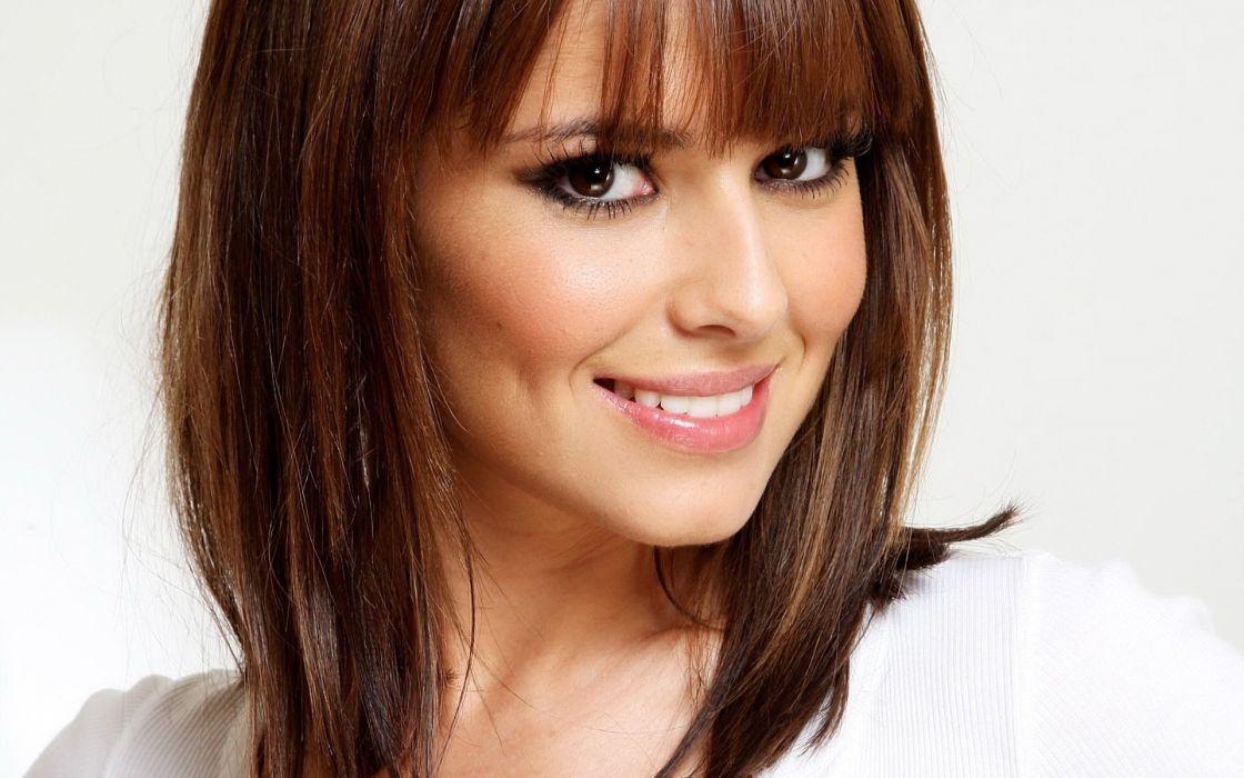 brunettes women celebrity Cheryl Cole singers faces bangs wallpaper
