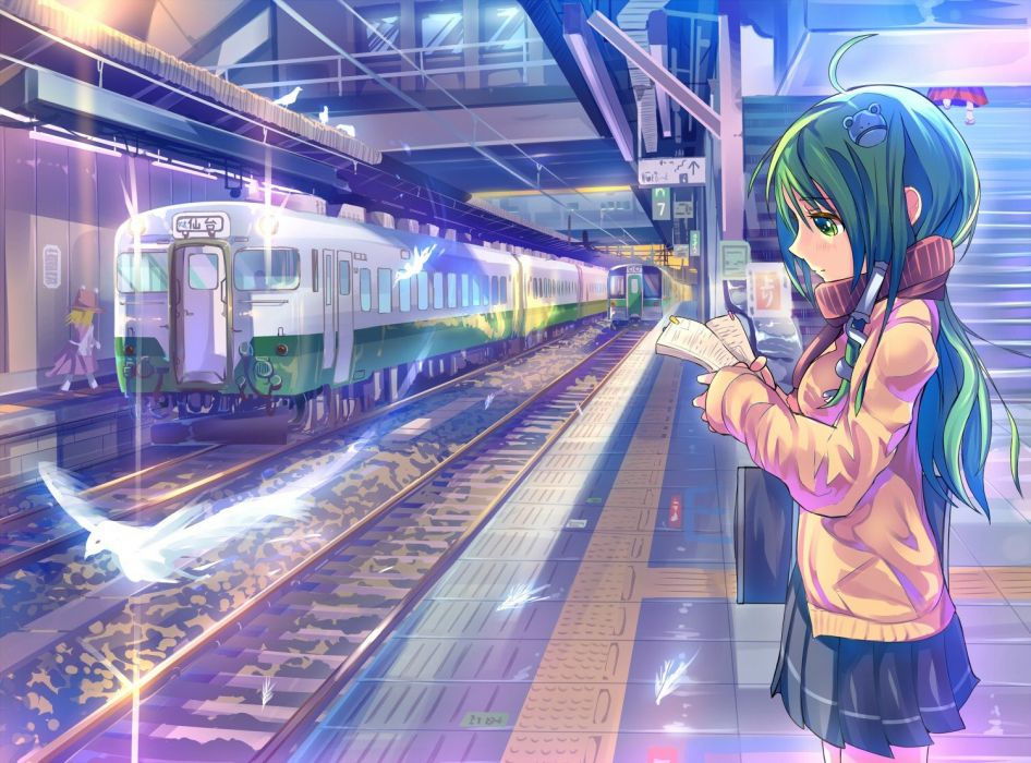Touhou birds costume tubes long hair green eyes train stations alternate green hair contemporary anime Kochiya Sanae ahoge anime girls wallpaper