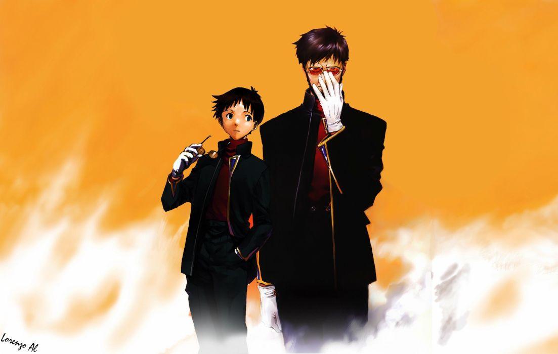 family orange Neon Genesis Evangelion Rebuild of Evangelion Gendo Ikari Shinji Ikari wallpaper