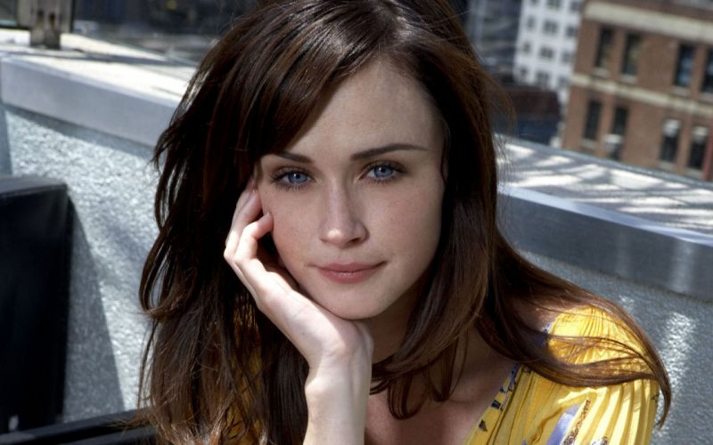 women Alexis Bledel blue eyes freckles wallpaper