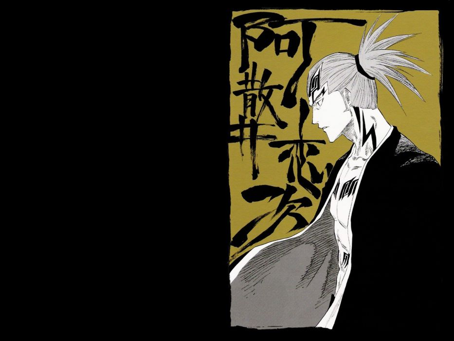 tattoos Bleach open shirt Abarai Renji kanji ponytails wallpaper