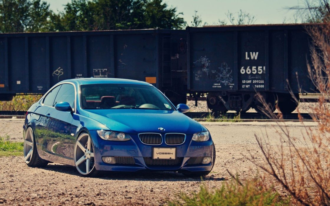 blue Germany trains wagons wheels BMW M3 coupe modified railway Vossen wallpaper