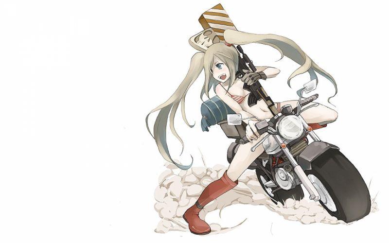 boots rifles skulls bikini twintails motorbikes simple background anime girls wallpaper