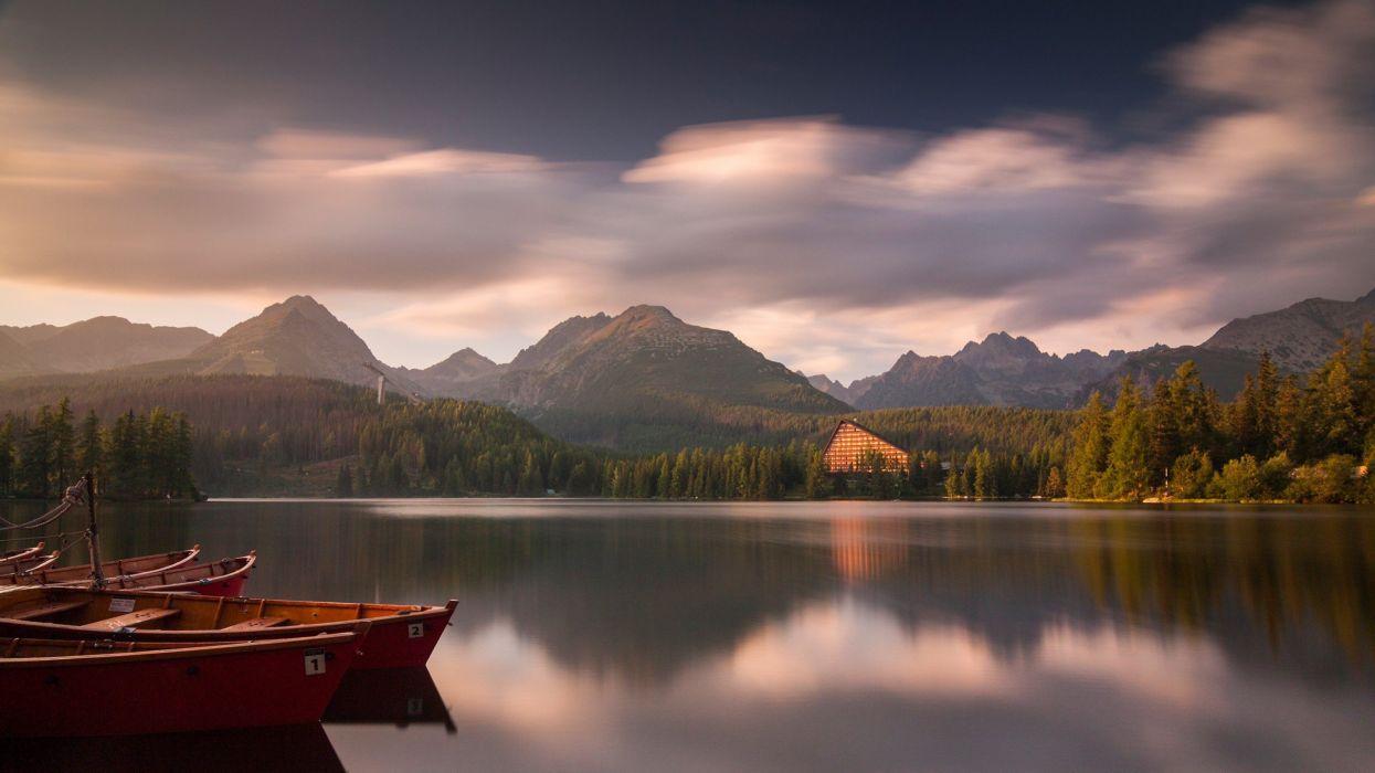 landscapes nature boats lakes National Park reflections Slovakia Tatra High Tatras wallpaper