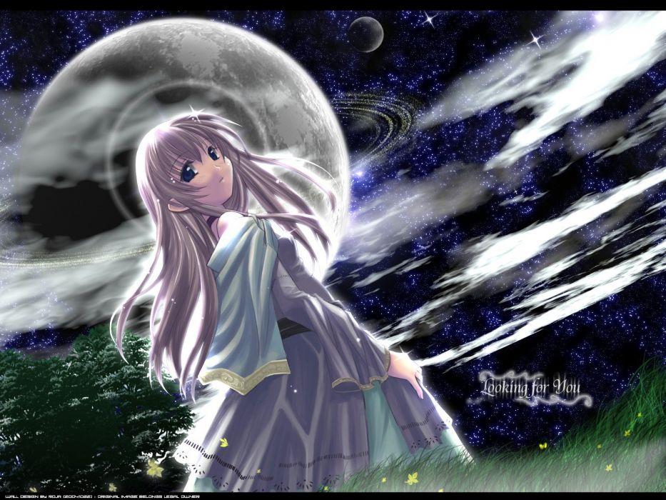 Moon long hair anime girls wallpaper