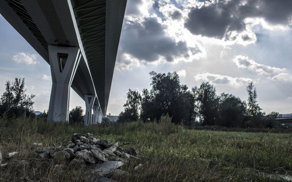 clouds grass bridges highways wallpaper