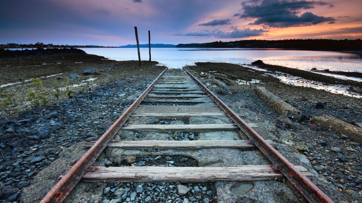 sunset clouds landscapes nature railroad tracks sea wallpaper