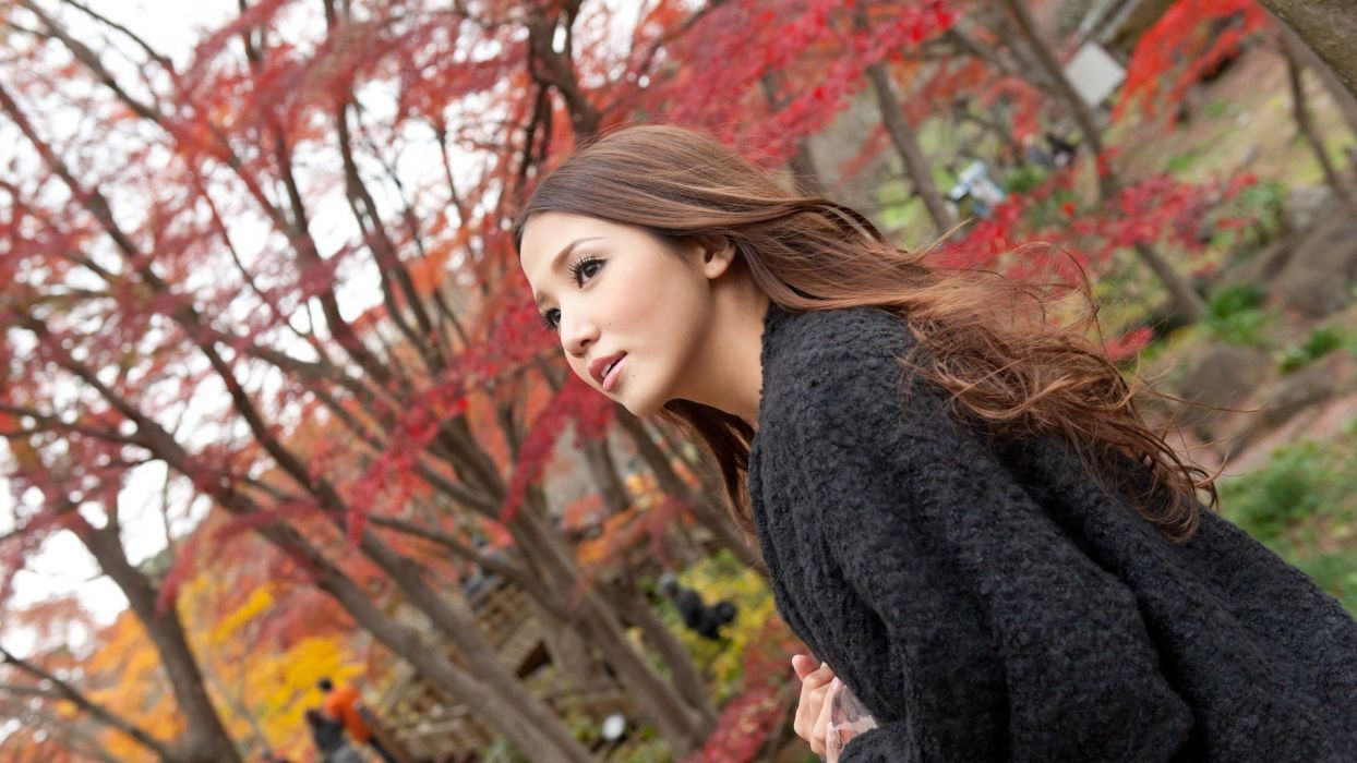 brunettes women Japan trees autumn Japanese Asians Asia parks TagNotAllowedTooSubjective wallpaper