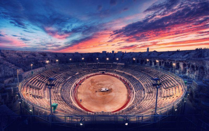 scenic ancient digital art stadium wallpaper