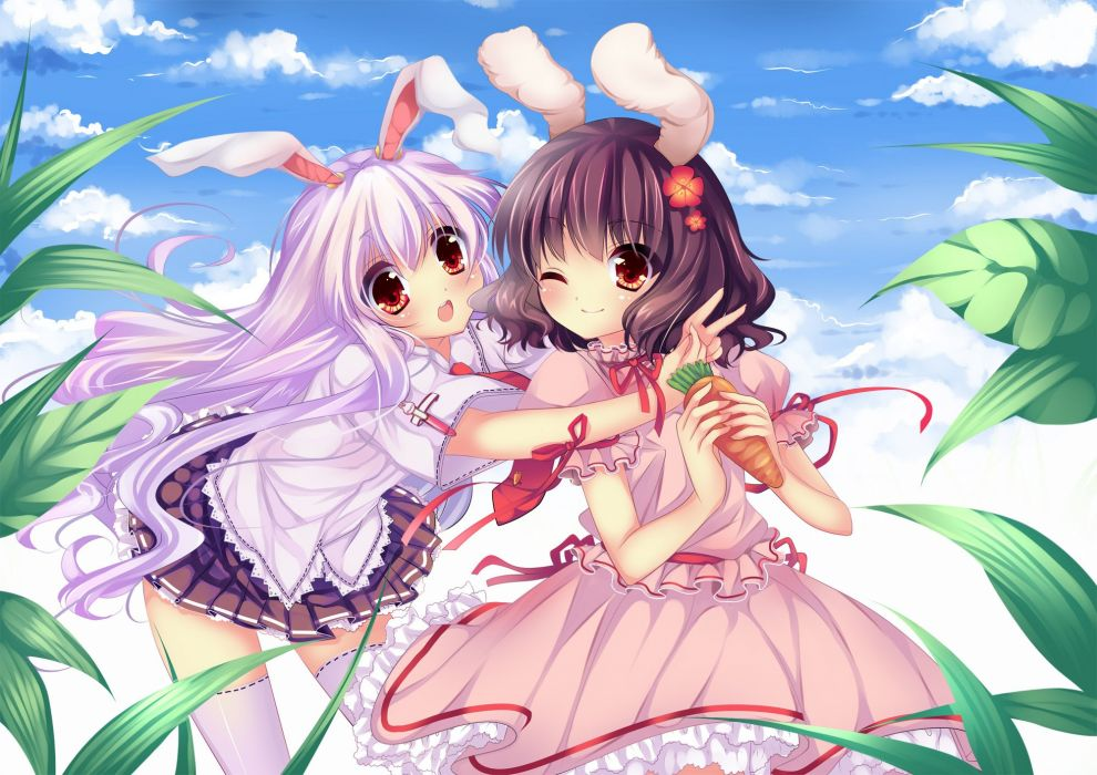 video games Touhou animal ears Reisen Udongein Inaba Imperishable Night Inaba Tewi wallpaper