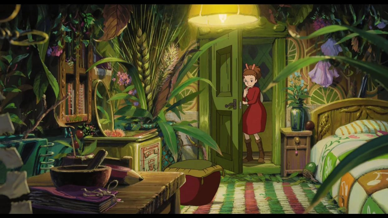 flowers beds plants interior anime Karigurashi no Arrietty spikelets The Secret World of Arrietty doors wallpaper