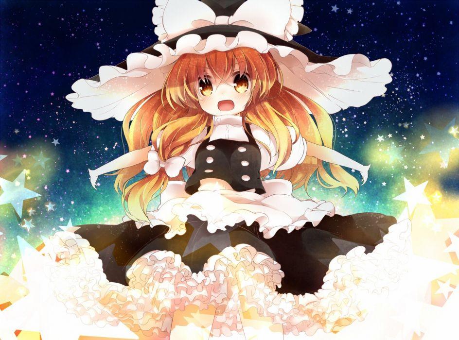 blondes video games Touhou dress stars long hair ribbons yellow eyes Kirisame Marisa open mouth hair ribbons hats anime girls wallpaper