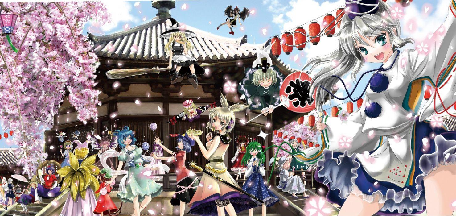 Touhou Akira Izayoi Sakuya Konpaku Youmu Hakurei Reimu Moriya Suwako Yakumo Yukari Mystia Lorelei Chen Yakumo Ran Kochiya Sanae Yasaka Kanako wallpaper