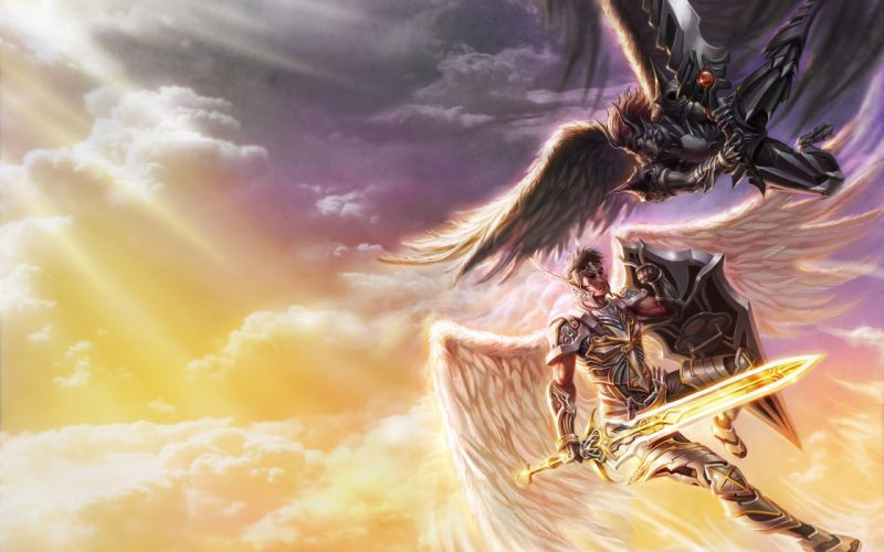 wings fight Heaven fantasy art warriors swords wallpaper