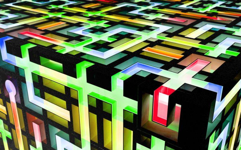 abstract CGI cubes chromatic colors K3 Studio wallpaper