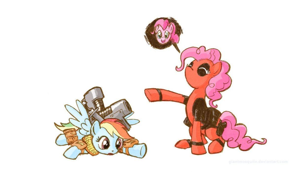 Deadpool Wade Wilson My Little Pony Pinkie Pie wallpaper