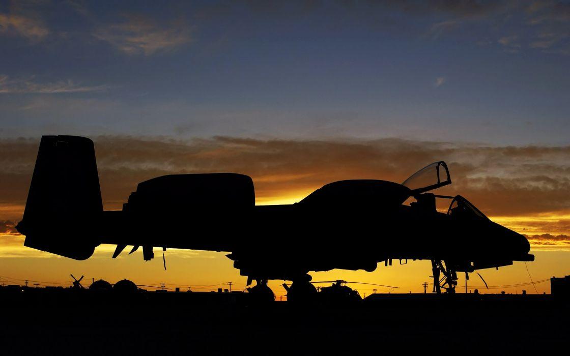 sunset aircraft military A-10 Thunderbolt II wallpaper