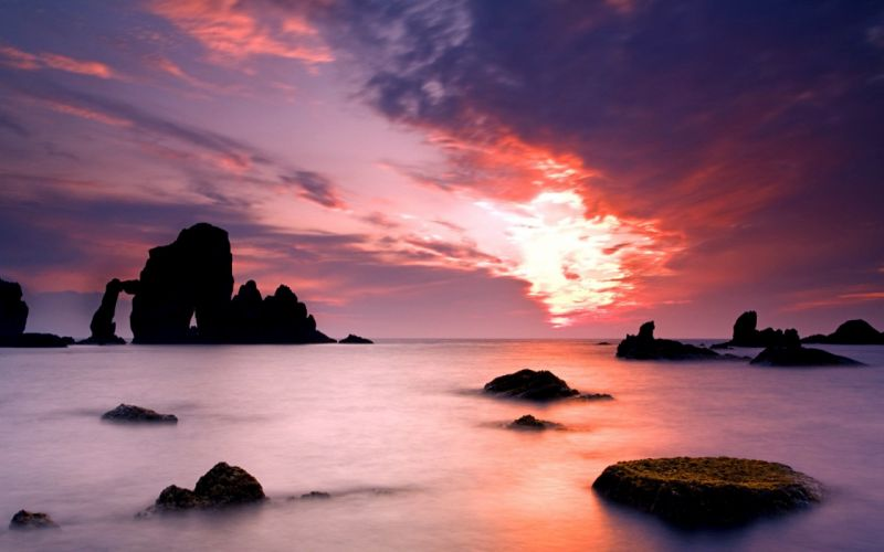water sunset landscapes nature wallpaper