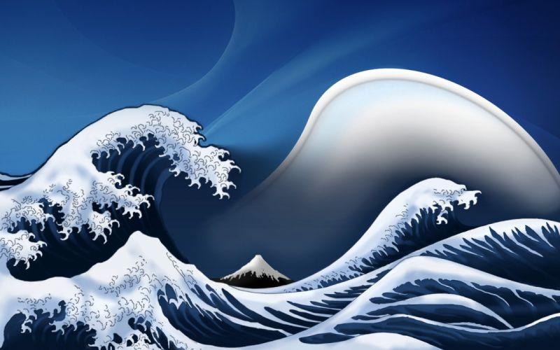 waves digital art artwork The Great Wave off Kanagawa wallpaper