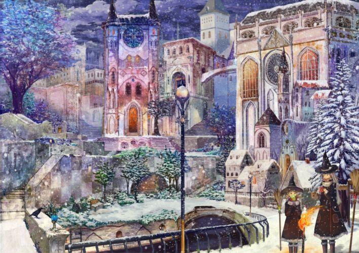 scenic snowflakes anime wallpaper