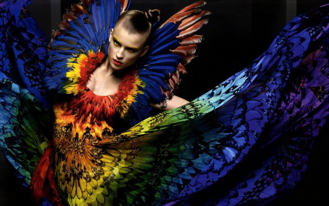 women multicolor models fashion feathers  fashion photography wallpaper