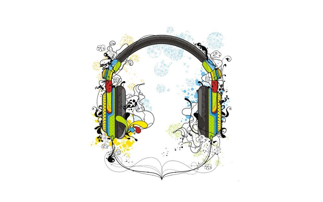 headphones white digital art artwork wallpaper