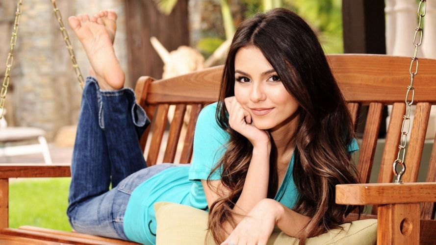 brunettes women jeans Victoria Justice celebrity brown eyes lying down wallpaper