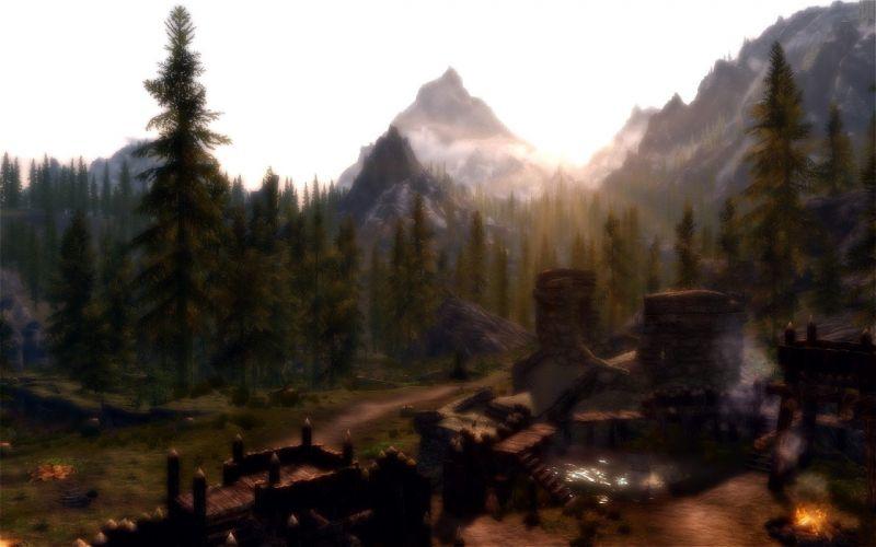 video games landscapes dust morning The Elder Scrolls V: Skyrim wallpaper