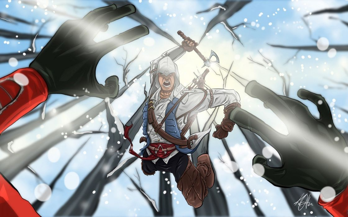 video games assassins artwork Assassins Creed 3 fan art Connor Kenway games art wallpaper
