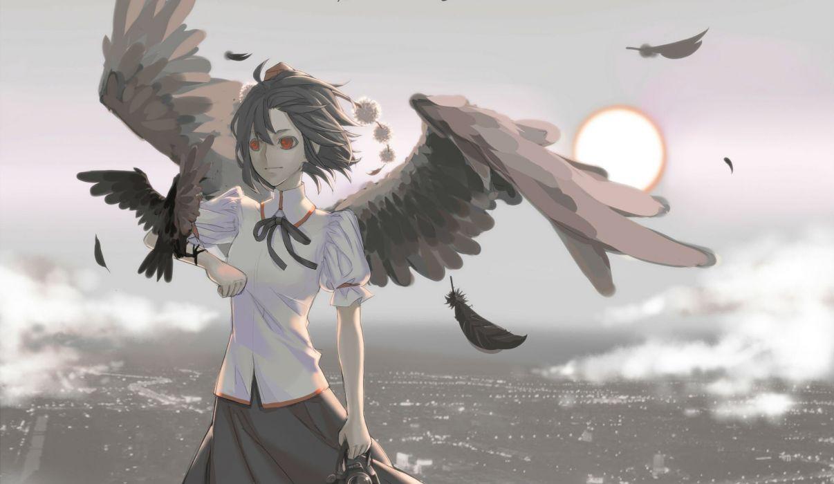 Touhou wings Sun birds red eyes Shameimaru Aya wallpaper