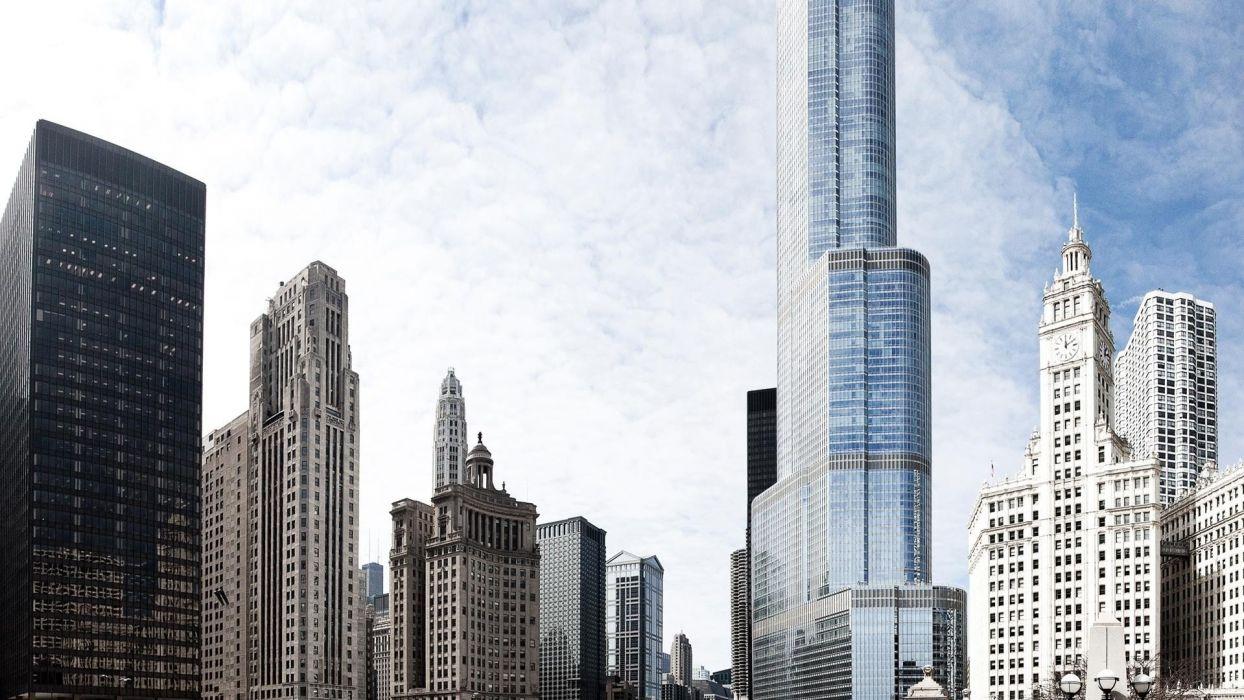 cityscapes Chicago Illinois united Trump Tower wallpaper