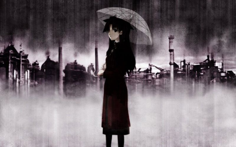Fate/Stay Night Tohsaka Rin night rain anime umbrellas Fate series wallpaper