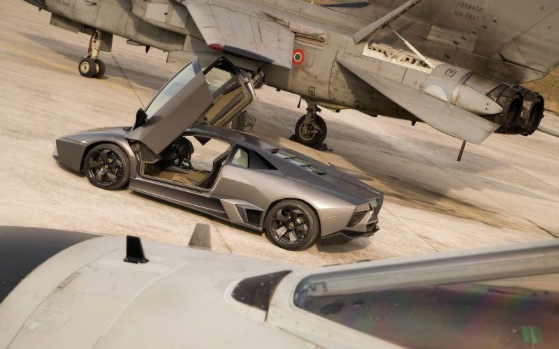 cars Lamborghini vehicles jet aircraft Lamborghini Reventon side view open doors fighter jets wallpaper