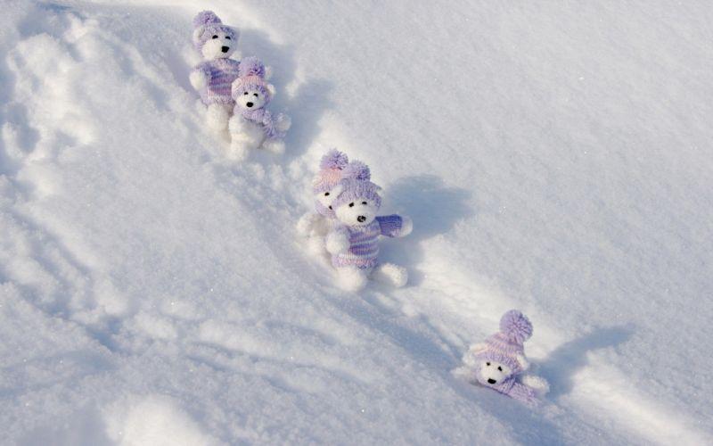 snow teddy bears wallpaper