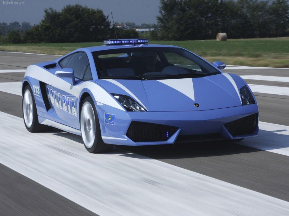 blue cars police Lamborghini Gallardo wallpaper