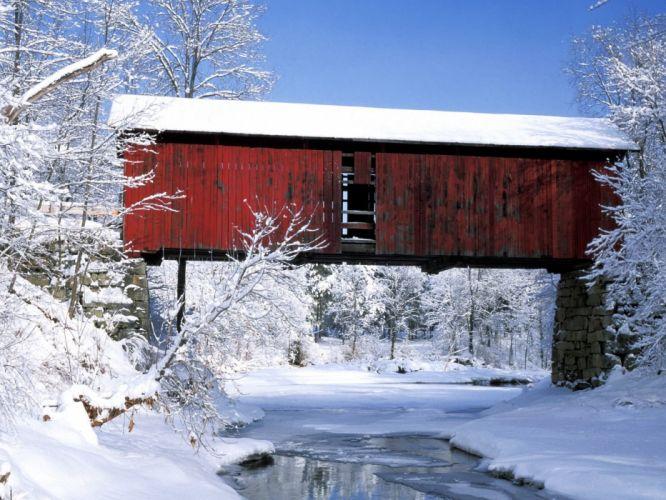 winter snow bridges wallpaper