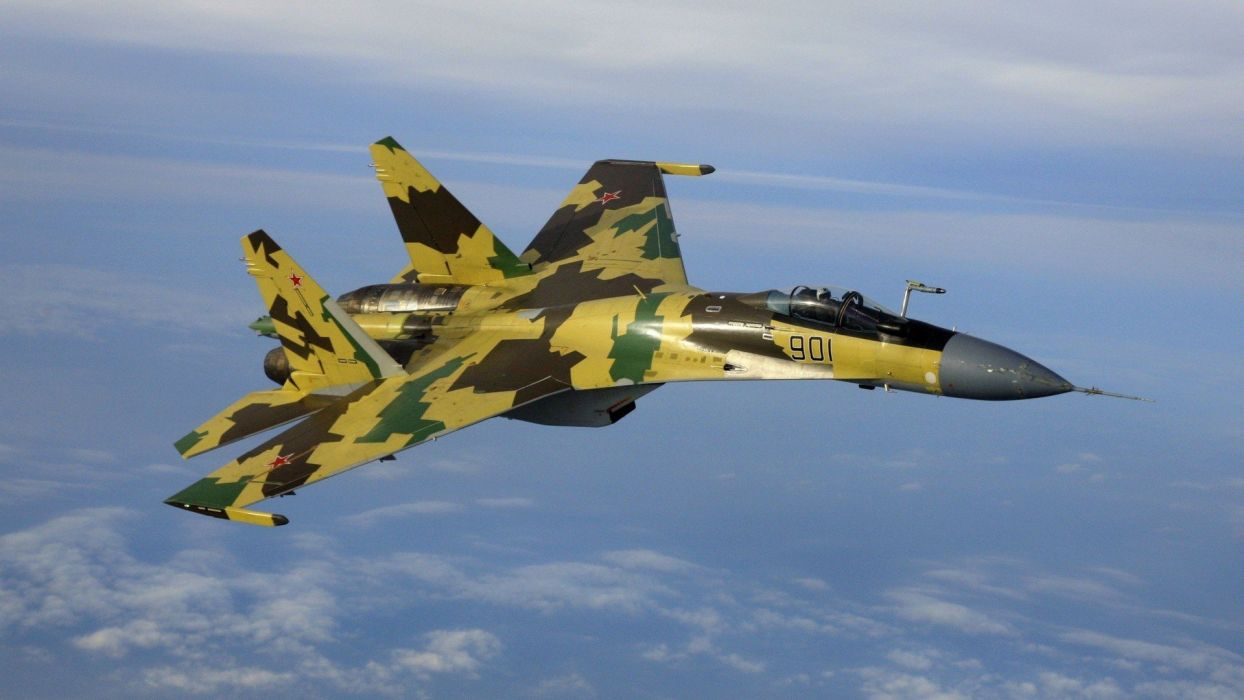 clouds aircraft Su-27 Flanker aviation skyscapes fighter jets wallpaper