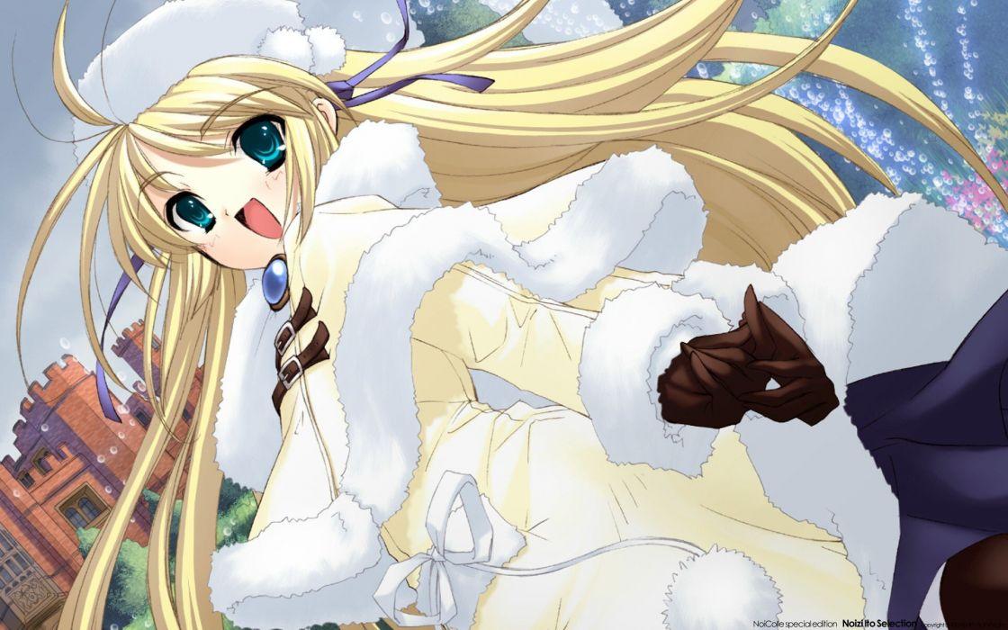 blondes gloves blue eyes long hair ribbons anime girls Itou Noiji wallpaper