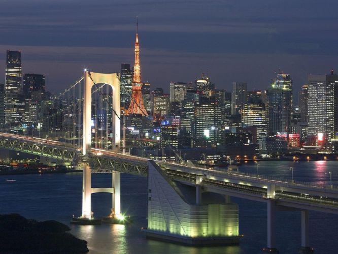 Japan Tokyo cityscapes Tokyo Tower Rainbow Bridge wallpaper