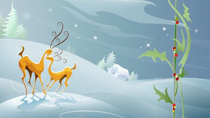 snow animals Christmas digital art artwork reindeer wallpaper